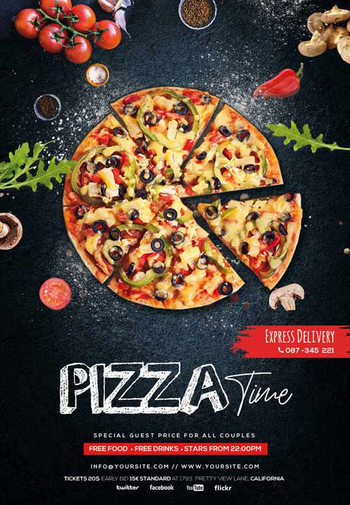 Free Pizza Restaurant Flyer Template