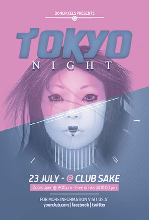 Free Tokyo Night Flyer Template