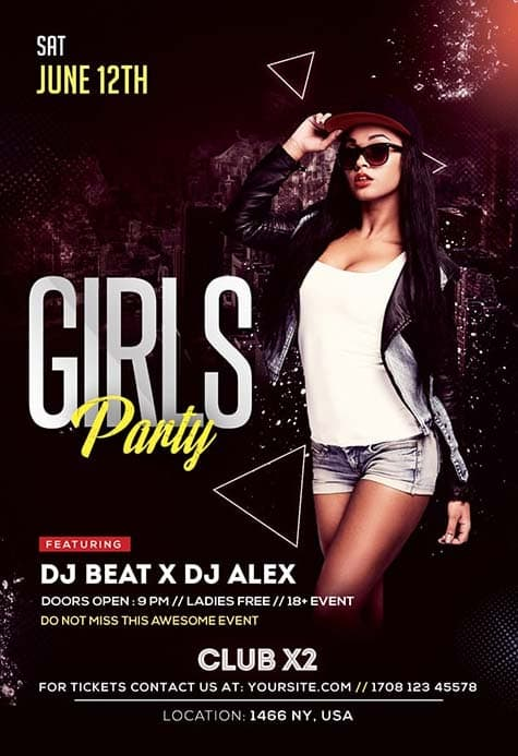 Girls Party Free Club Flyer Template