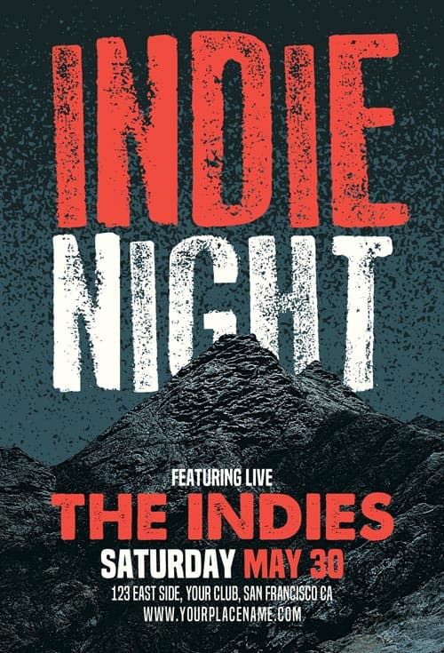 Indie Night Flyer Free Flyer Template