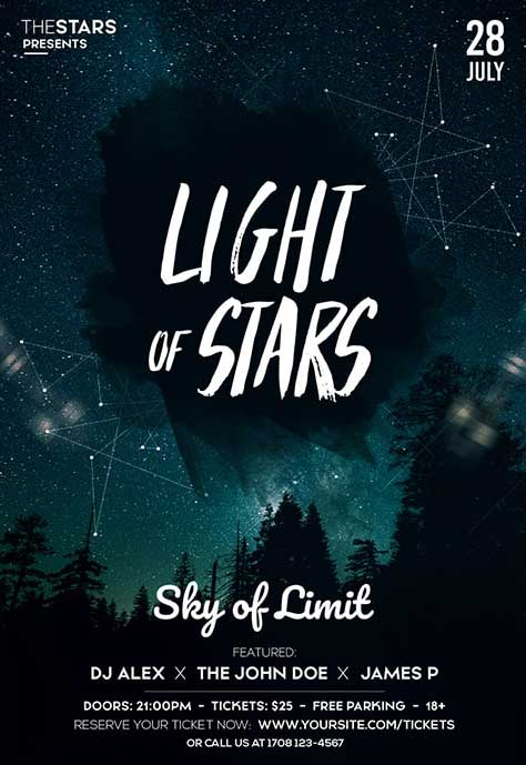 Light Of Stars Free Flyer Template