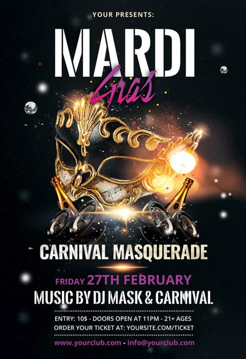 Mardi Gras Celebration Free Carnival Flyer Template