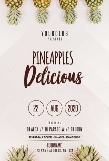 Minimal Pineapple Free Flyer Template