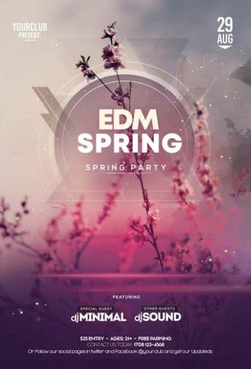 Spring EDM Party Free Flyer Template