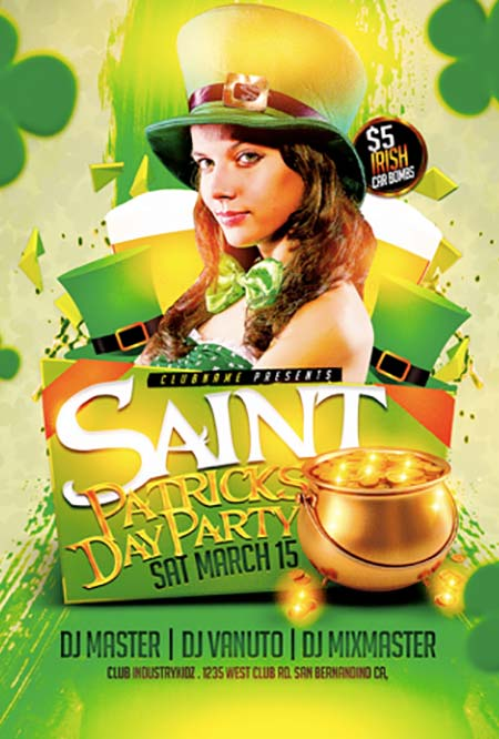 St. Paddy's Day Party Free Flyer Template