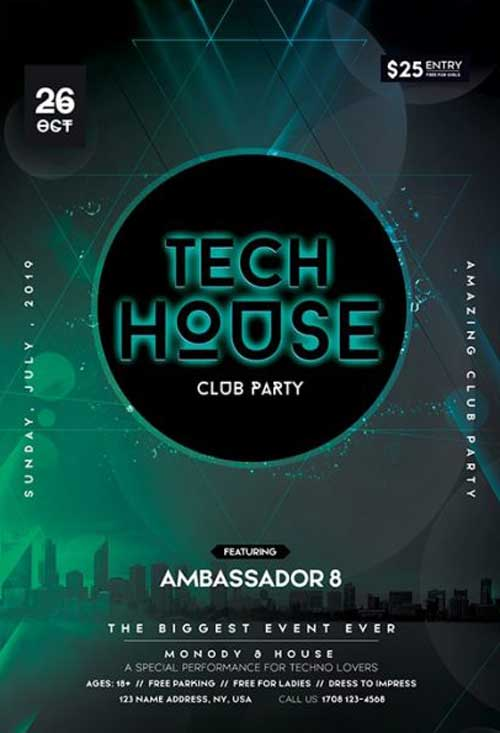 Tech House Free Electro Flyer Template