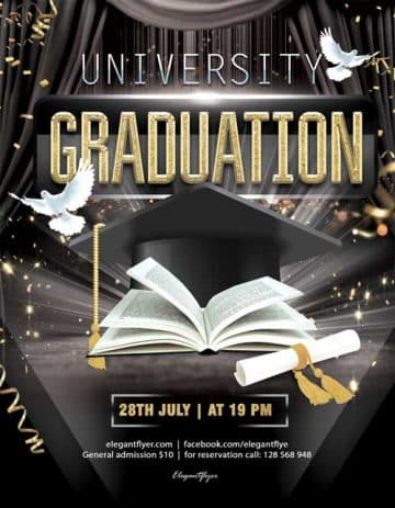 University Graduation Free Party Flyer Template