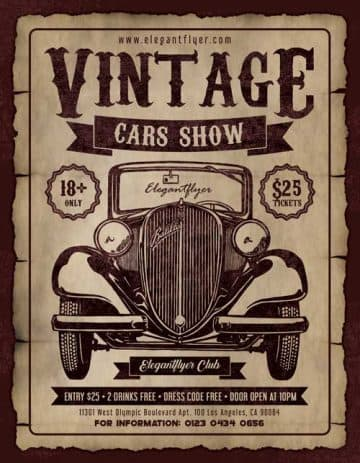 Vintage Cars Show Free Party Flyer Template