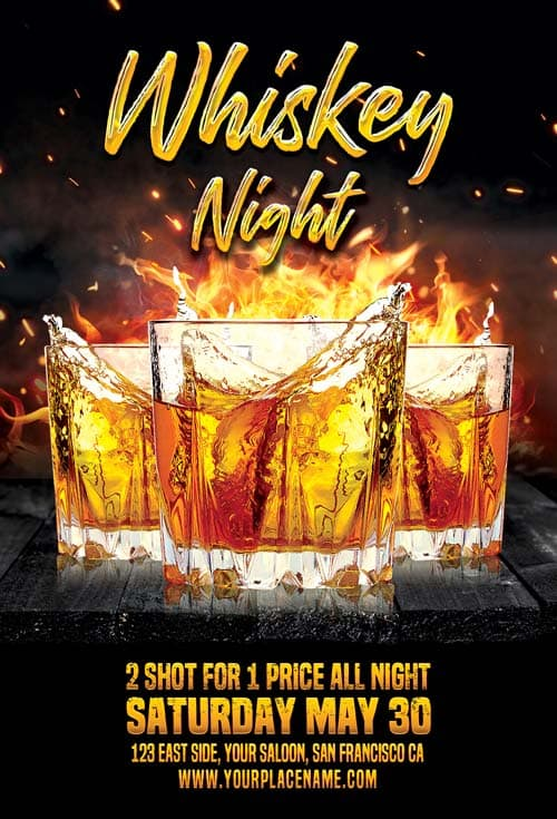 Whiskey Night Party Flyer Template