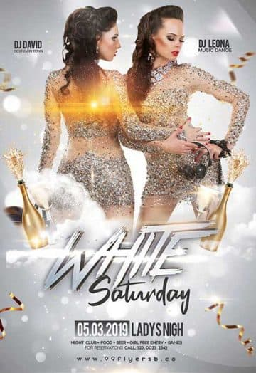 White Saturday Free Flyer Template