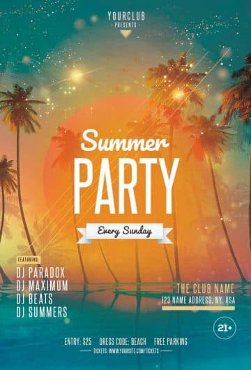 Beach Party Free Club Flyer Template