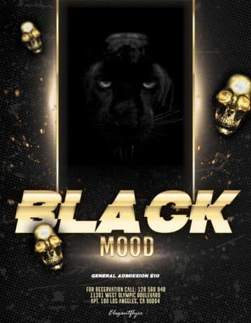 Black Mood Party Free Flyer Template