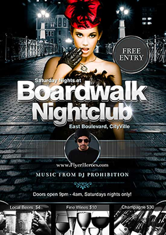 Boardwalk Nightclub Free Flyer Template