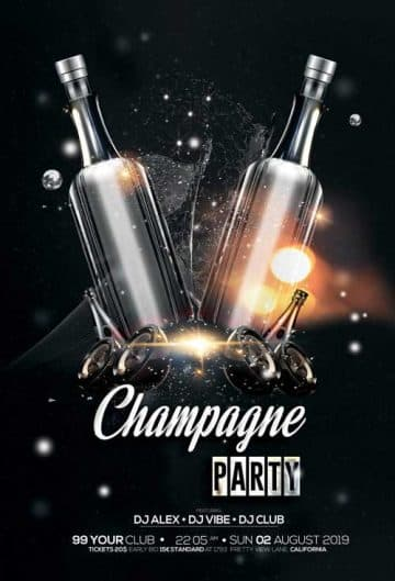 Champagne Party Free Flyer Template