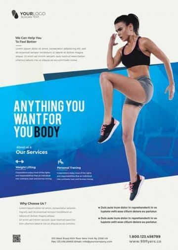 Clean Fitness Free Gym Flyer Template