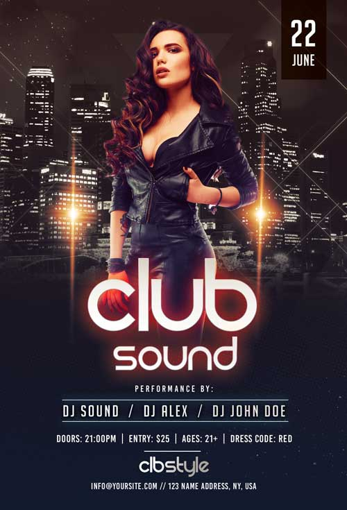 Club Sound Night Free Flyer Template