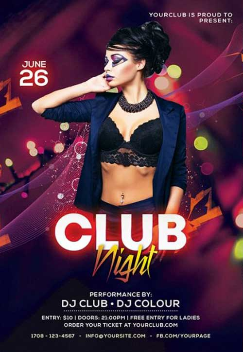 Color Club Night Party Free Flyer Template