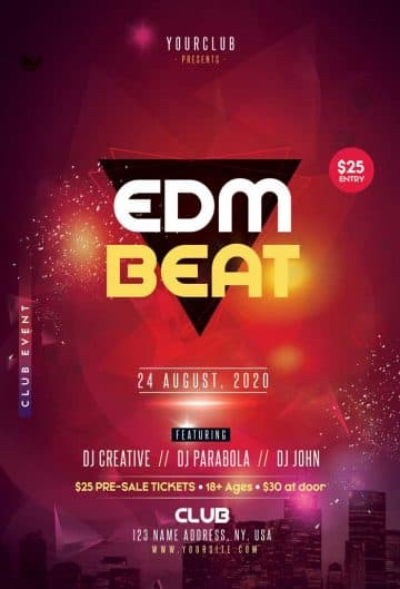 EDM Beat Free Flyer Template