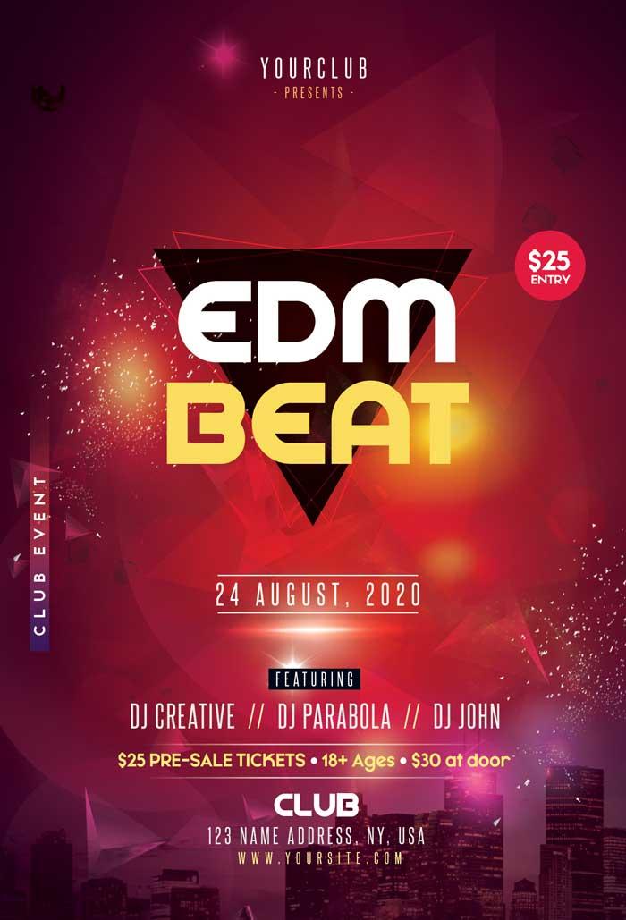 EDM Beat Free Flyer Template