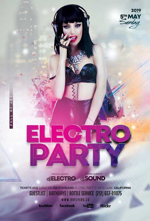 Electro Party Free Club Flyer Template