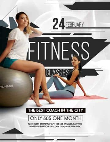 Fitness Classes Free Flyer Template