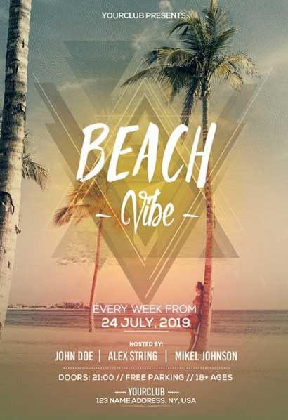 Free Beach Summer Vibes Party Flyer Template