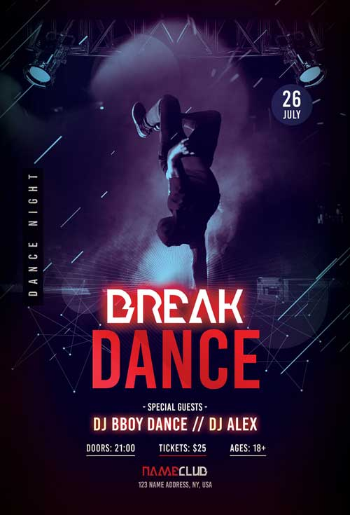Free Break Dance Flyer Template