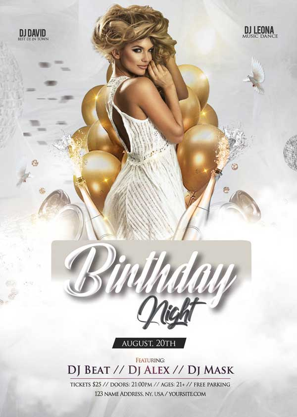 Free Elegant Birthday Party Flyer Template