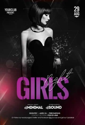 Free Girls Club Flyer Template