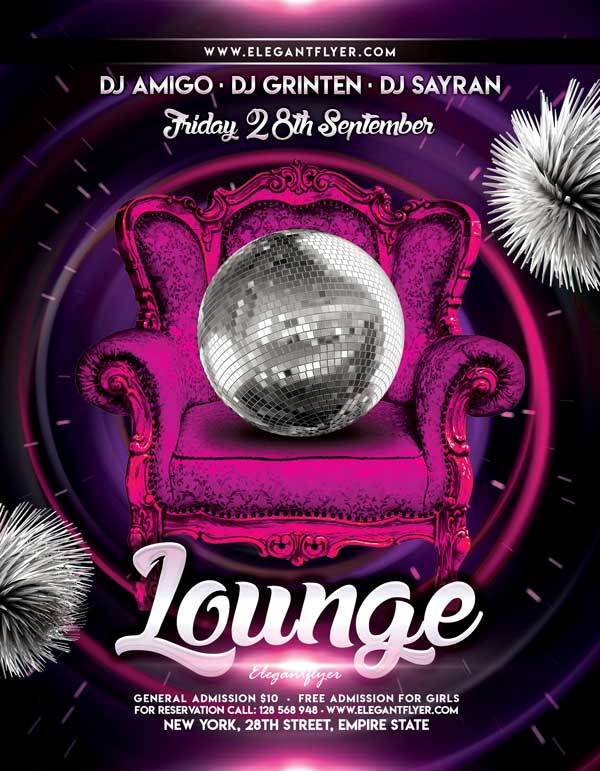 Free Lounge Party Flyer Template
