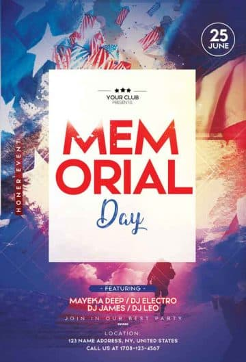 Free Memorial Day Party Flyer Template