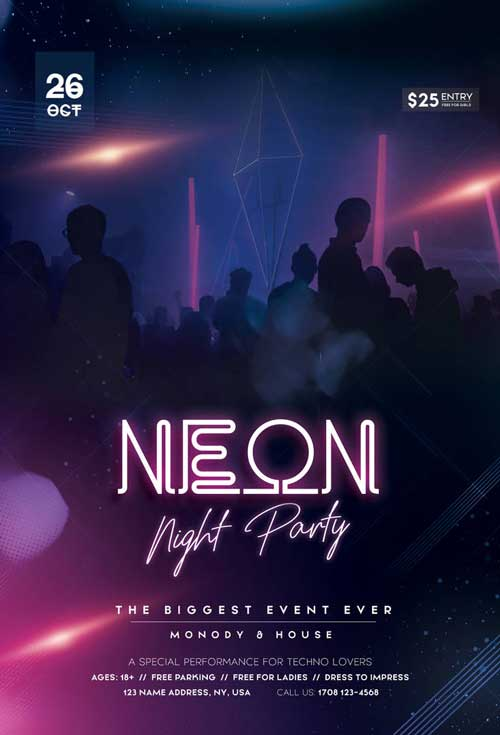Free Neon Night Party Flyer Template