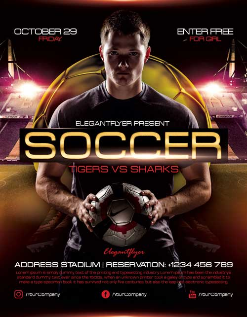 Free Soccer Match Flyer Template