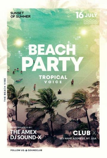 Free Summer Beach Vibe Flyer Template