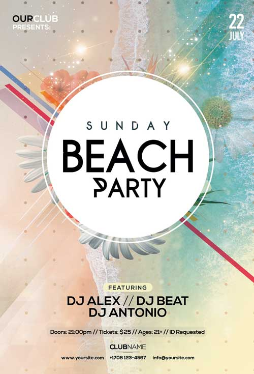 Free Sunday Beach Party Flyer Template