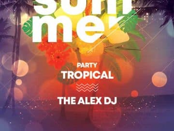 Free Tropical Summer Club Flyer Template