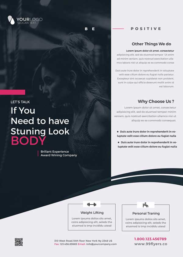 Gym Fit Free Fitness Flyer Template