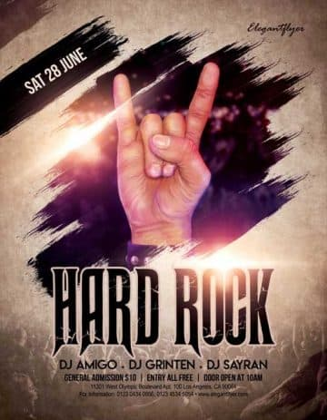 Hard Rock Music Free Flyer Template