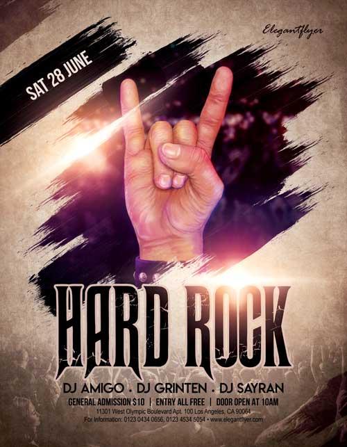 Hard Rock Music Free Flyer Template