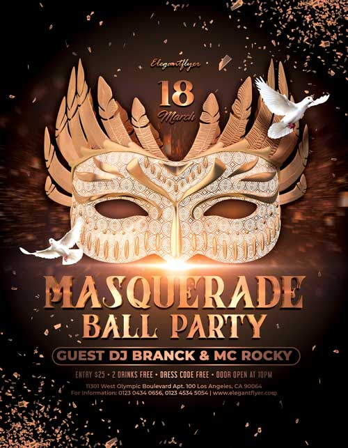 Masquerade Ball Party Free Flyer Template