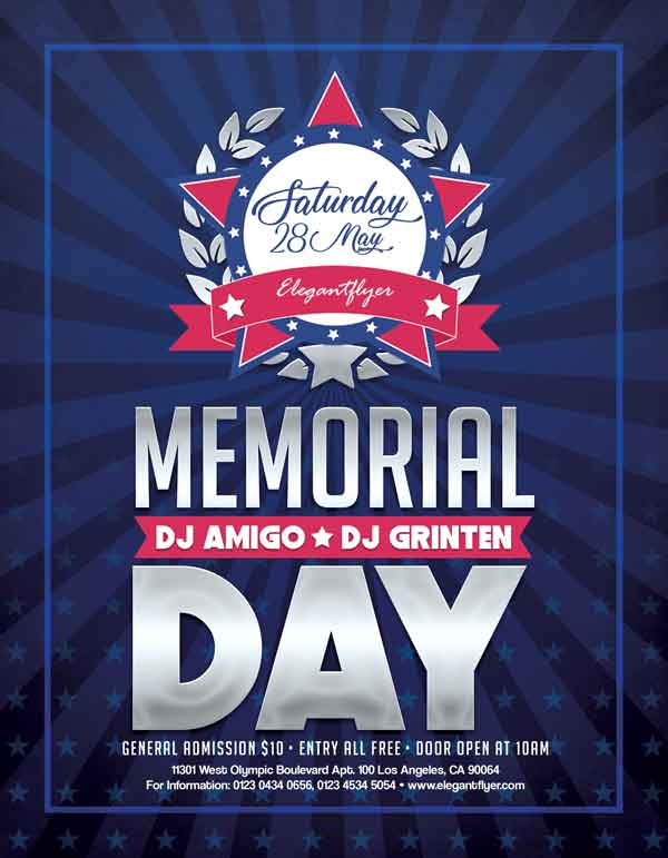 Memorial Day 2018 Free Party Flyer Template