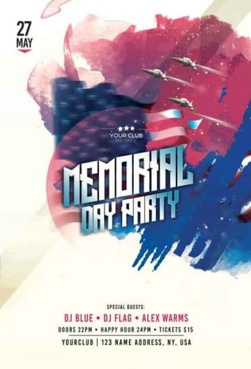 Memorial Day Free Party Flyer Template