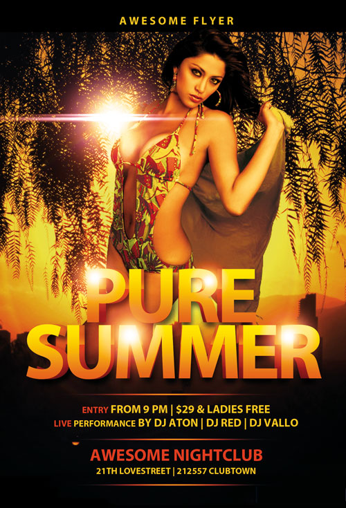 Pure Summer Free Flyer PSD Template