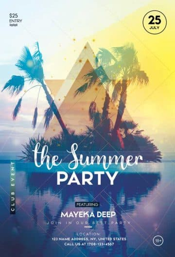 Summer Party Free Club Flyer Template