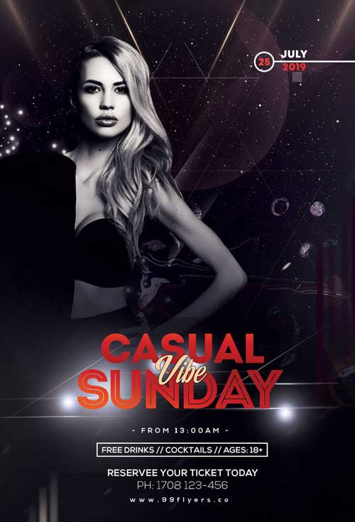 Casual Sunday Free Club Flyer Template