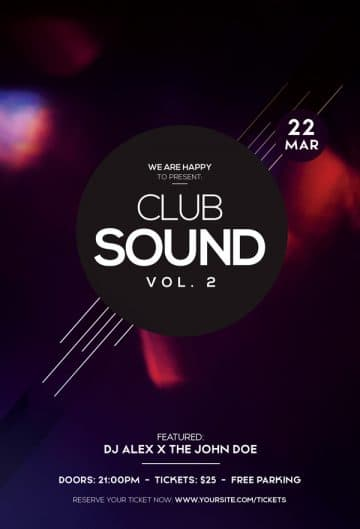 Club Sound Party Free Flyer Template