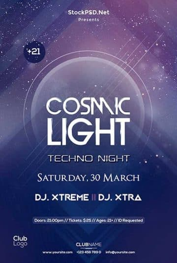 Cosmic Techno Party Free Flyer Template