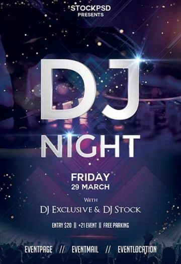 DJ Night Party Free Flyer Template