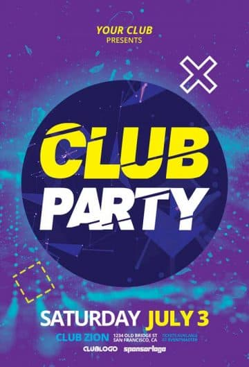 Electro Club Party Free PSD Flyer Template