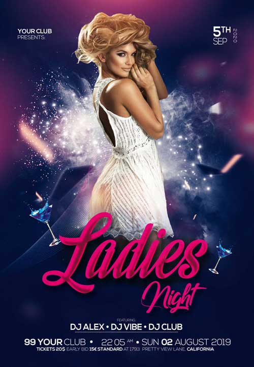Free Girls Night Out Club Flyer Template